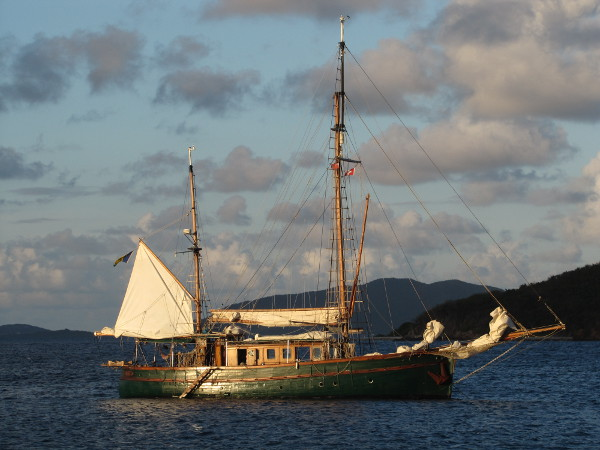 An older wooden ketch shares our anchorage.