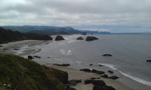 View toward Haystack Rock from Cape Meares