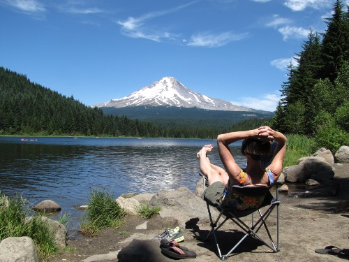 Lynelle relaxing at Trillium Lake