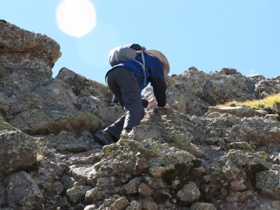 Steve starts his climb toward the summit.