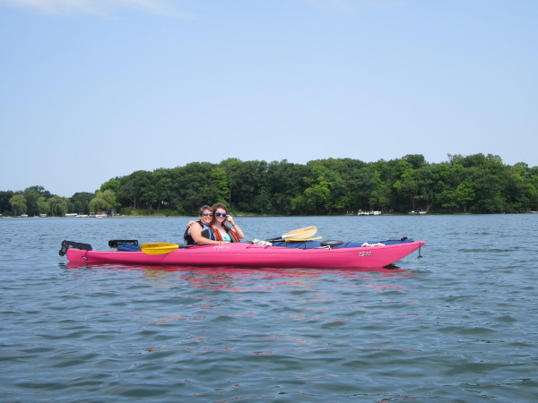 Dee and McKinley kayaking
