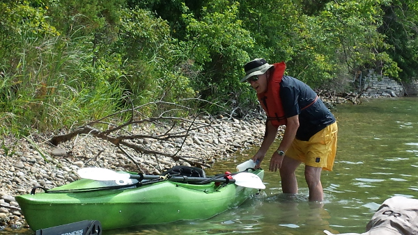 Dad took an unexpected swim while trying to get in one of the tippier kayaks
